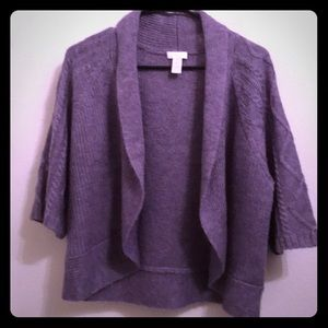 CHICO'S Purple Shrug Sweater Wool & Mohair Size 1